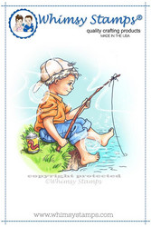 Whimsy Stamps Fishing Boy -leimasin