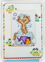 Whimsy Stamps Bath Cat -leimasin