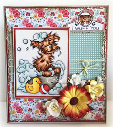 Whimsy Stamps Bath Dog -leimasin