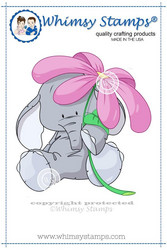 Whimsy Stamps Elephant with Flower -leimasin