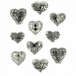 Dress It Up napit Assorted Silver Hearts