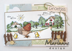 Marianne Design leimasinsetti Hetty's chicken family