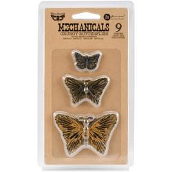 Finnabair Mechanicals Metalli koristeet, Grunge Butterflies, 9 kpl