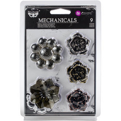 Finnabair Mechanicals Metalli koristeet, Flowers, 9 kpl