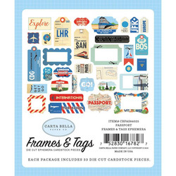 Carta Bella Passport Ephemera Frames & Tags -leikekuvat, 33 kpl