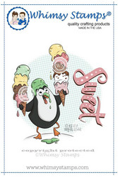 Whimsy Stamps Ice Cream Penguin -leimasin