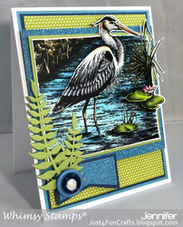 Whimsy Stamps Great Blue Heron -leimasin