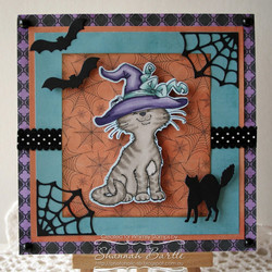 Whimsy Stamps Cat Witch -leimasin