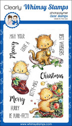 Whimsy Stamps Meowy Kitty-mas -leimasinsetti