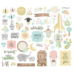 Simple Stories Oh Baby! Bits & Pieces Die-Cuts, leikekuvat, 52 kpl