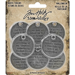 Tim Holtz Idea-Ology Metal Quote Tokens Halloween