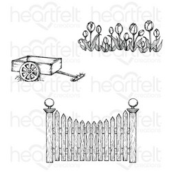 Heartfelt Creations Tulip Cart & Fence -leimasin