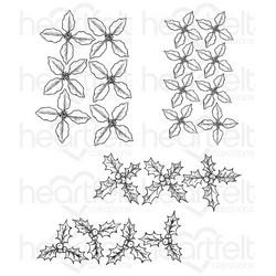 Heartfelt Creations Poinsettia & Holly Clusters -leimasin