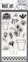 Wendy Vecchi Make Art setti Flower Pot, sis. leimasin, stanssi ja sapluuna