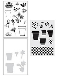 Wendy Vecchi Make Art setti Flower Pot, sis. leimasin, stanssi ja sapluuna