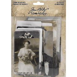Tim Holtz Idea-Ology Die-Cut, Found Relative Vintage Portraits, leikekuvat, 45 kpl