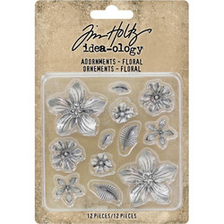 Tim Holtz Idea-Ology Metal Adornments Floral, metallikoristeet