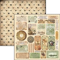 Ciao Bella  Voyages Extraordinaires -skräppipaperi Verne Mini Cards