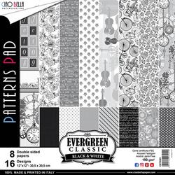Ciao Bella Patterns Pad paperipakkaus Evergreen Classics Black & White, 12