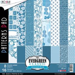 Ciao Bella Patterns Pad paperipakkaus Evergreen Classics Italian Blue, 12
