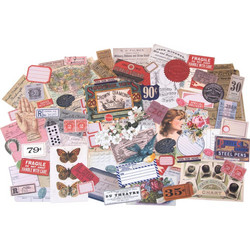 Tim Holtz Idea-Ology Ephemera Pack Keepsakes -korttikuvat, 95 kpl