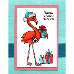 Stampendous leimasin Flamingo Santa