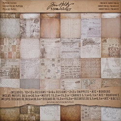 Tim Holtz Idea-Ology paperipakkaus French Industrial, 12