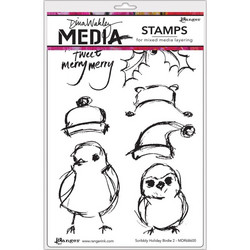 Dina Wakley Media leimasinsetti Scribbly Holiday Birds 2