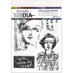 Dina Wakley Media Collage Tissue -paperipakkaus Vintage & Sketches