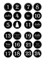 Joulukalenteritarra musta