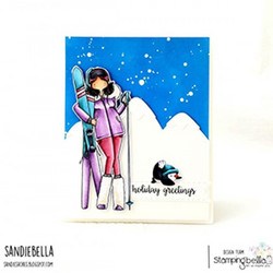 Stamping Bella Curvy Girl Loves To Ski -leimasin