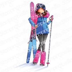 Stamping Bella Curvy Girl Loves To Ski -leimasin