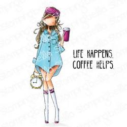Stamping Bella Curvy Girl Loves Coffee -leimasin