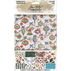Tim Holtz Idea-Ology Worn Wallpaper Christmas -paperipakkaus, 5