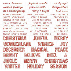 Idea-Ology Chipboard Quote Chips, Christmas Words and Phrases 52 kpl