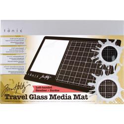 Tim Holtz Glass Media Mat -alusta, Travel, vasenkätinen + suojapussi