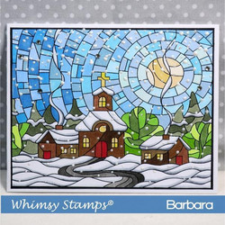 Whimsy Stamps Stained Glass Village -leimasin