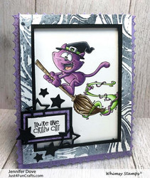 Whimsy Stamps Flying Cat Witch -leimasin