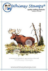 Whimsy Stamps Moose Scene -leimasin