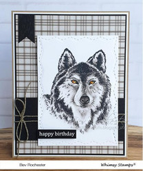 Whimsy Stamps Wolf Head -leimasin