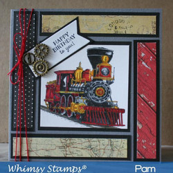 Whimsy Stamps Old West Locomotive -leimasin