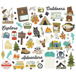 Simple Stories Happy Trails Bits & Pieces Die-Cuts, leikekuvat, 59 kpl