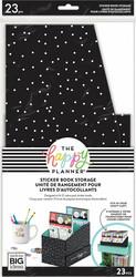 Mambi Sticker Storage Box -säilytyslaatikko tarrakirjoille, Black and White Polka Dot