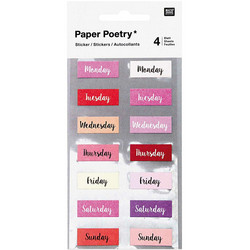 Paper Poetry Bullet Diary tarrat Weekdays, pink
