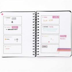 Paper Poetry Bullet Diary kalenteri, spiraalirenkailla, musta