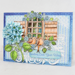 Heartfelt Creations Cottage Window & Hydrangea -stanssisetti