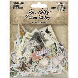 Tim Holtz Idea-Ology Ephemera Snippets Field Notes -korttikuvat, 134 kpl