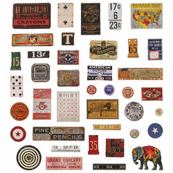 Tim Holtz Idea-Ology Chipboard Baseboards Junk Drawer, 40 kpl