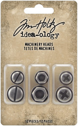Tim Holtz Idea-Ology Metal Adornments, Machinery Heads, 12 kpl