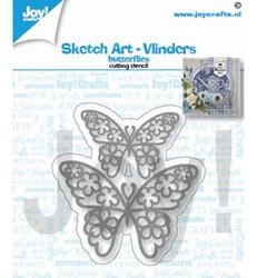 Joy! crafts Sketch Art Butterflies -stanssisetti